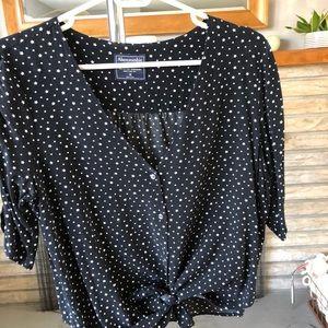 Medium Black Star-Print Blouse